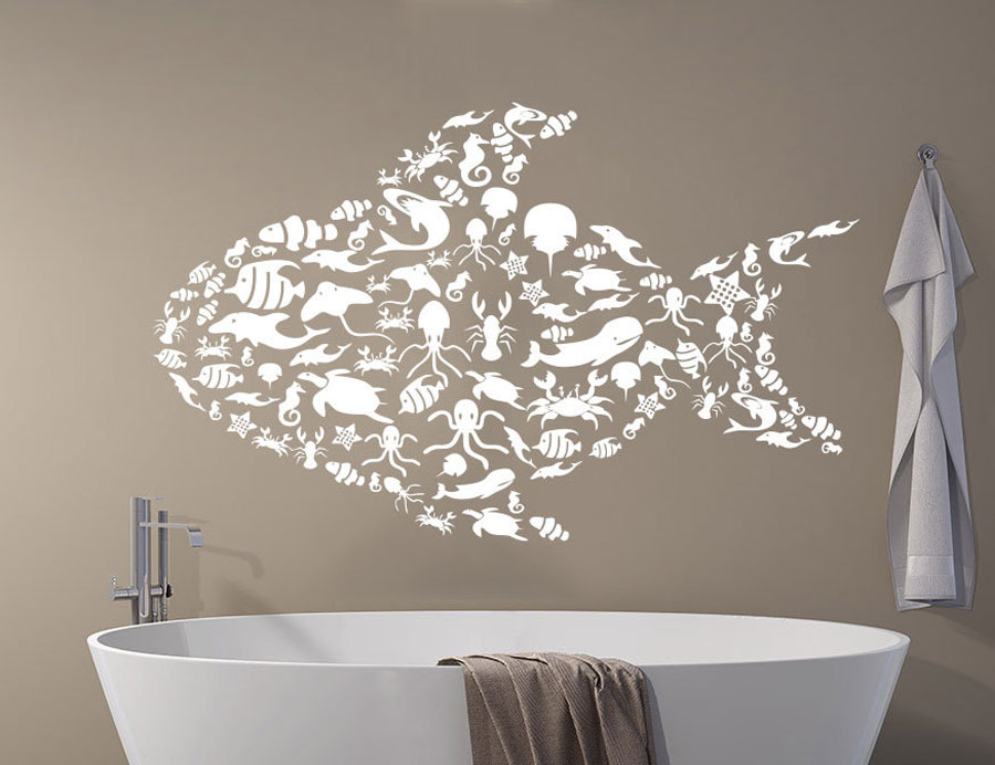 Fish Wall Decal Sea Decorated Animals Ocean Nautical ...