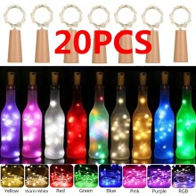9 Colors 20Leds Hot Sale! Wine Bottle Cork Lights Copper Wire String Lights for Wedding Festival Party Decor(China)