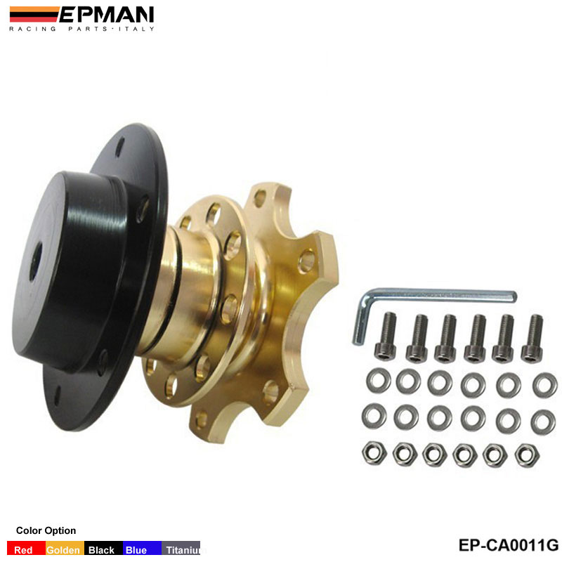 Быстроразъемный адаптер ступицы подходит для автомобильного спортивного рулевого колеса для сиденья 2001-2006 EP-CA0011G - Цвет: Золотой