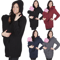 Fashion 2018 Winter Autumn Baby Carrier Jacket Kangaroo Warm Maternity Hoodies Outerwear Coat Maternity Clothes Plus Size M 3XL