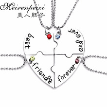 4PC Best Friends Forever And Ever Friendship Pendant Necklace Broken Heart Puzzle Creative Keepsake Birthday Gift