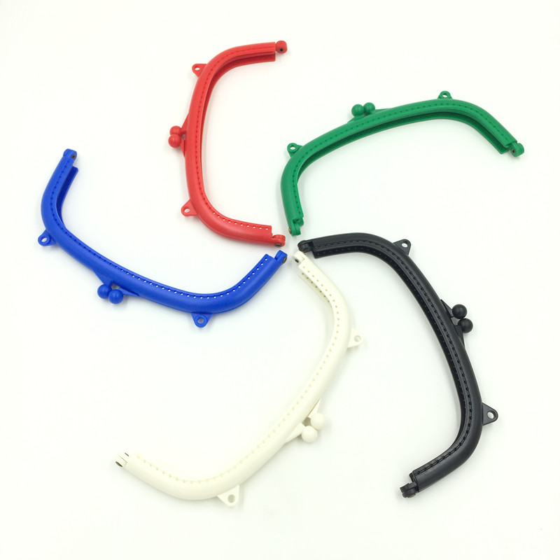 10Pcs Mixed Colors DIY Coins Purse Plastic Arch Arc Frame Kiss Clasps Lock Handbag Handle Findings 21x11cm