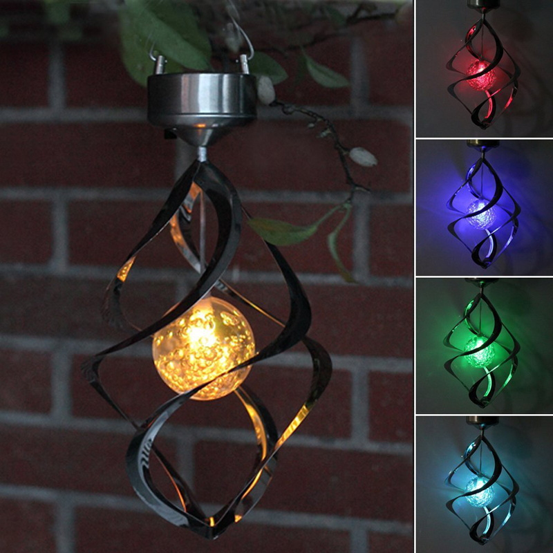 Colorful Solar Power Hanging Lights Outdoor Courtyard LED Solar Lamp Waterproof Romantic Changing Color Light for Garden Decor solar color changing led hanging wind spinner lamp for courtyard