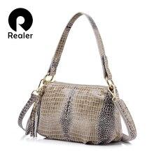 Flap MAIS REAL genuína mulheres de couro bolsa de crocodilo padrão de bolsa feminina bolsa de ombro com borla saco senhoras mensageiro