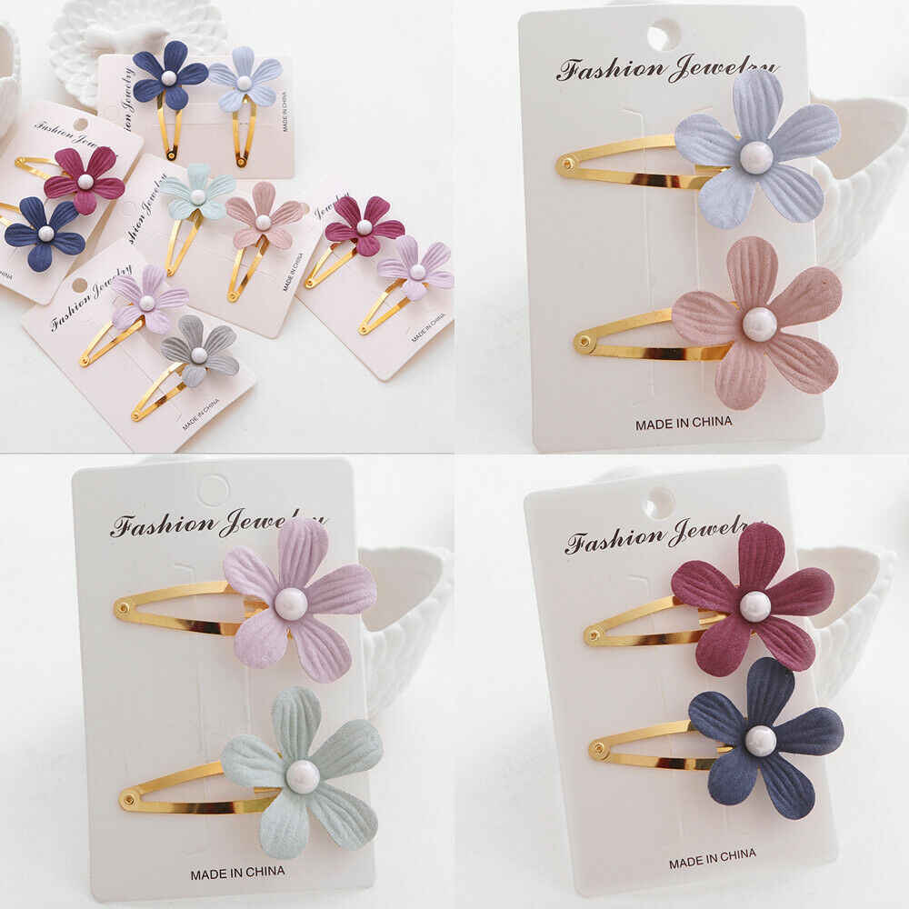 Fashion Girls Pearl Flower Hair Clip Accessories Barrette Hawaiian Wedding Party 2pcs/Sets