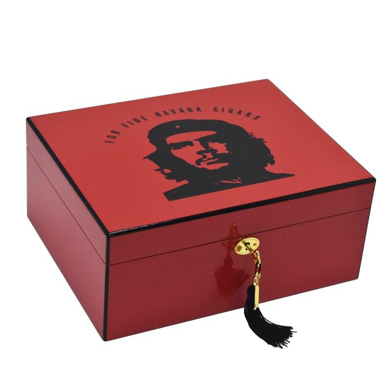 Boîte à cigares havane en bois de cèdre espagnol finition haute brillance charnières plaquées or boîte de rangement pour cigares de grande capacité avec hygromètre