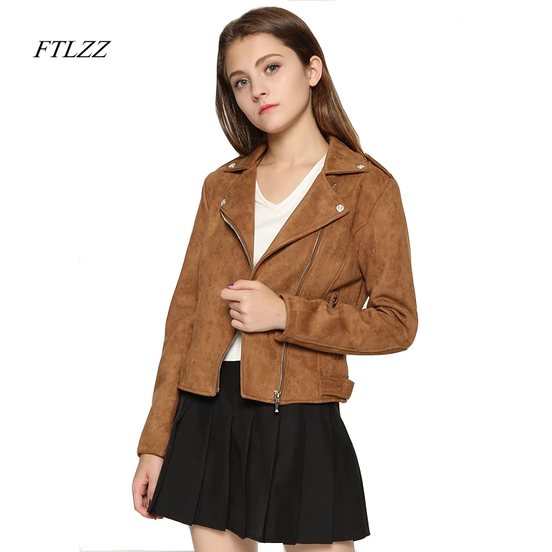 FTLZZ Spring Autumn Faux   Suede   Women 2019 Slim White Pu Coat Jacket Faux   Leather   Motorcycle Biker Jacket Women
