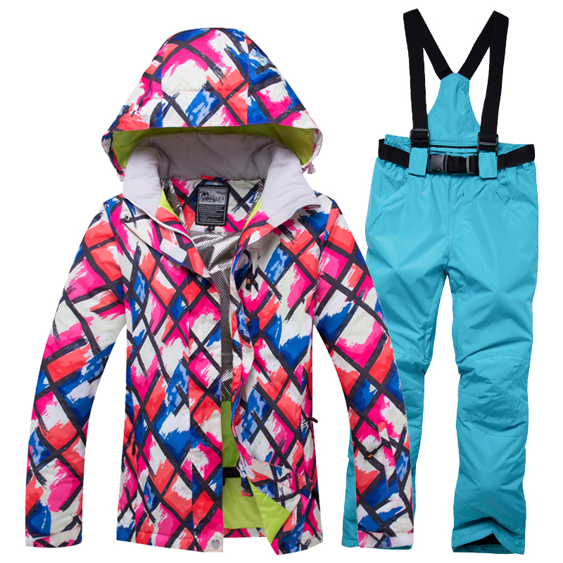 Free shipping Ski Suit Female Women Waterproof Ski Jacket Snowboard Pant Thermal Breathable Cheap Outdoor Mountain Skiing Set цена