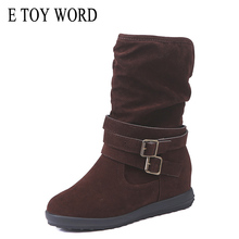 E TOY WORD boots women Winter Shoes Scrub leather Large Size 43 Snow Boots Women Slip-On Warm Flat Women Mid-Calf boots цена 2017