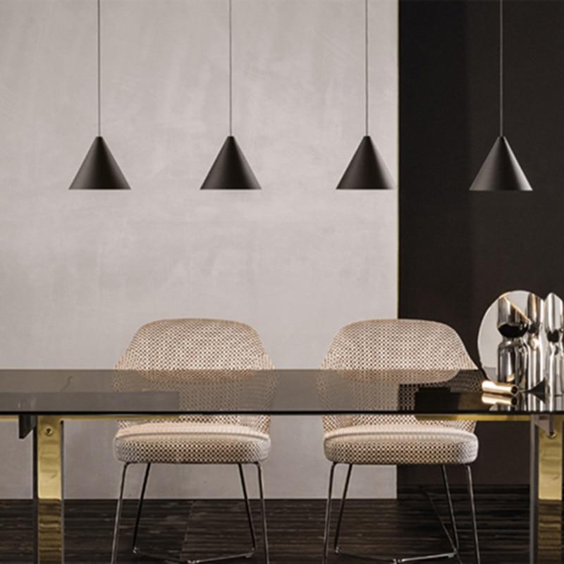 LukLoy Modern Light Black Metal Long Wire Cone Shape Pendant Lamp Kitchen Island Hanging Lamp Bedside Suspension Lighting