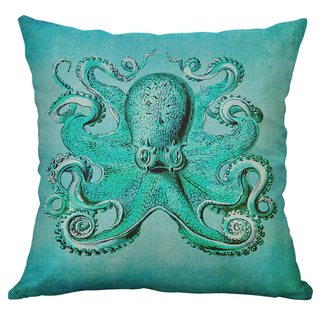 Marine Life Coral Sea Turtle Seahorse Whale Octopus Cushion Cover Pillow Cover Home Decorative Housse De Coussin 45x45cm-in Cushion Cover from Home & Garden