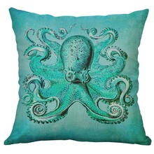 Marine Life Coral Sea Turtle Seahorse Whale Octopus เบาะรองนั่งหมอนหน้าแรกตกแต่ง Housse De Coussin 45x45 ซม.
