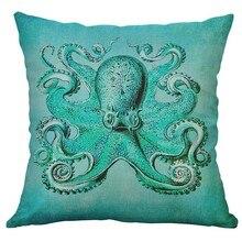 Życie morskie morze koralowe żółw morski wieloryb ośmiornica poszewka poduszka pokrywa domu dekoracyjne Housse De Coussin 45x45 cm