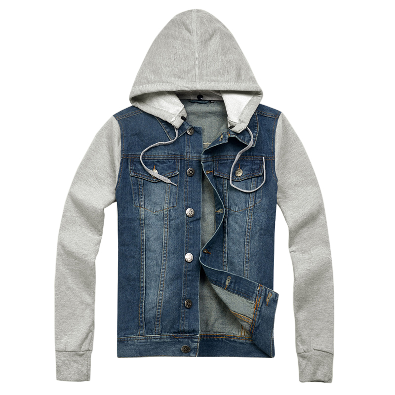 Fashion mens hoodies and sweatshirts long sleeve winter denim patchwork men's winter hoodies cowboy Male Hooded Jeans Jackets