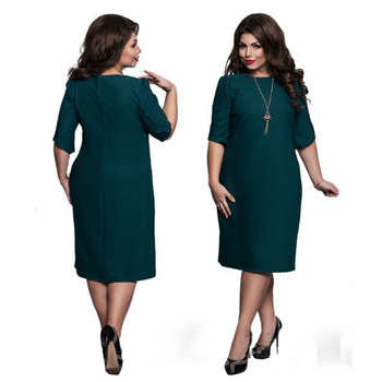 L-6XL Large Size 2020 Spring Dress Big Size Casual Dress Blue Red Green Straight Dresses Plus Size Women Clothing Vestidos 3