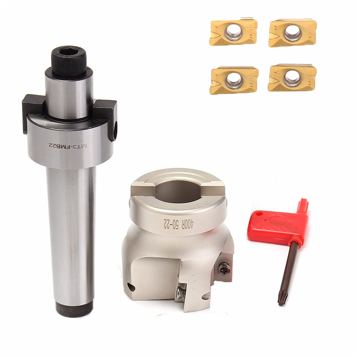 Tool Holder Shank MT3 FMB22 M12 50mm + Endmill CNC Drawbar Face Milling Cutter + 4pcs APMT1604 Carbide Inserts Set