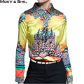 European Style High Quality Silk  Womens Shirt  Single Breasted Floral Tree Print Yellow Colorful Tops Fall Clothes T69292R