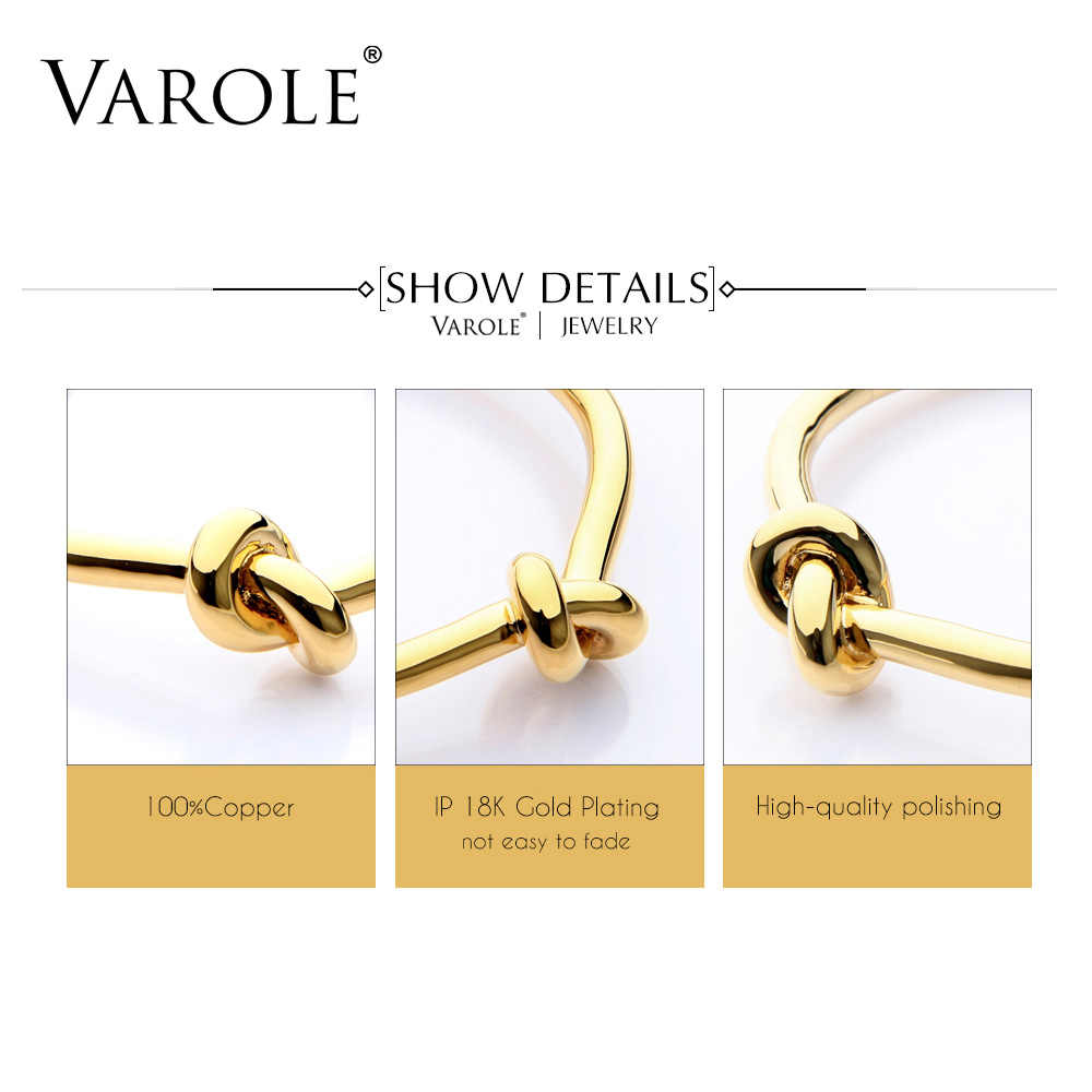 VAROLE أنيقة عقدة النحاس أساور الذهب اللون المفتوحة الإسورة هدية Pulseiras الأنثوية الكفة الأساور للنساء