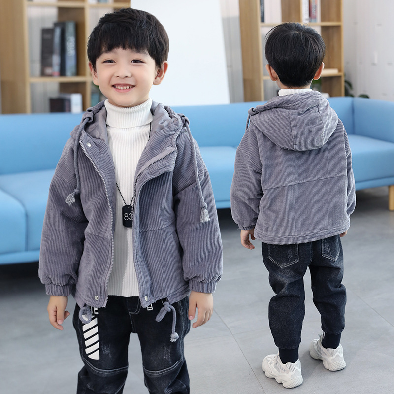 Kids Boys Thicken Winter Coat Size 7 8 9 10 11 12 Years Long Sleeve Stripe Gray Green Hooded Cotton Coats Children Clothes 5R22A hooded flap pocket pu leather spliced long sleeve men s thicken coat