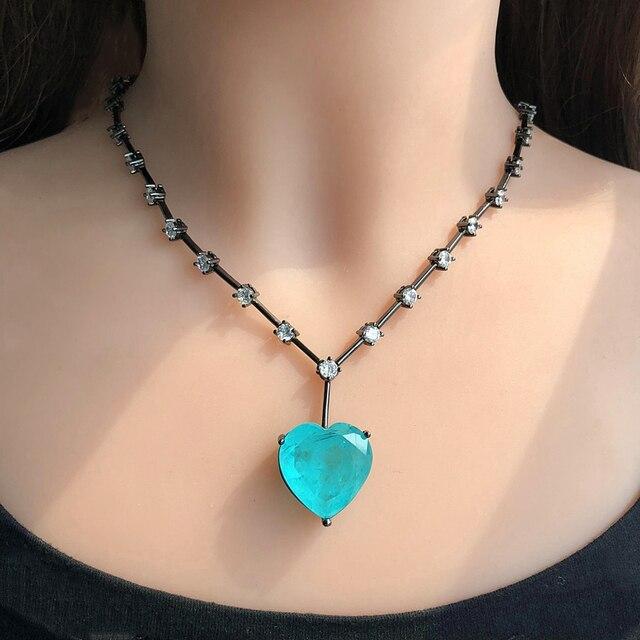 יוקרה ירוק כחול לב היתוך אבן תליון שרשרת לנשים וגרם מעוקב Zirconia chockers שרשרת תכשיטים bijoux
