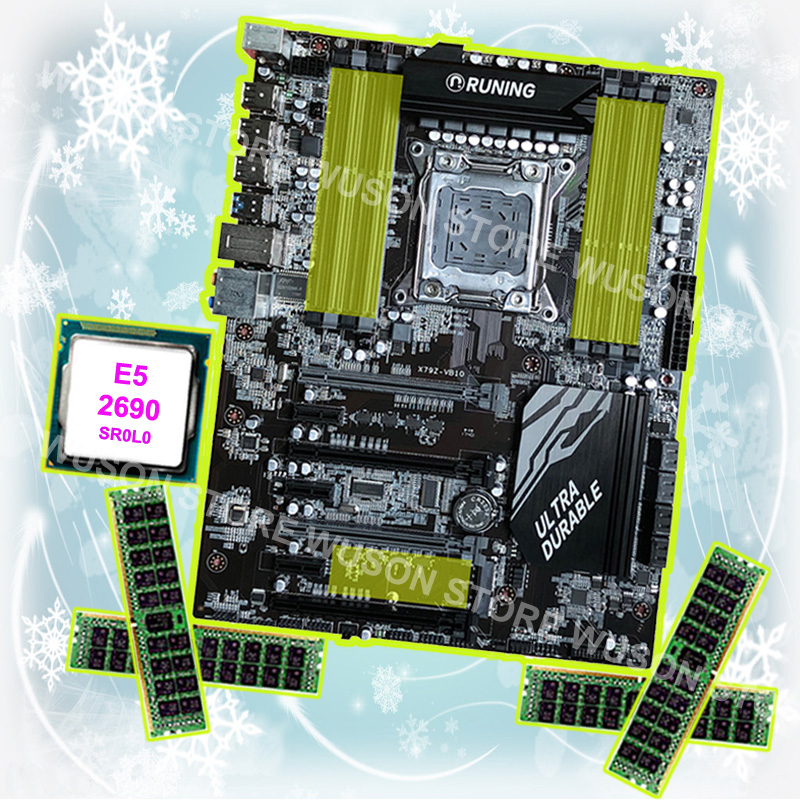 Buy best motherboard Runing Super ATX X79 LGA2011 motherboard with CPU Intel Xeon E5 2690 C2 2.9GHz RAM 4*16G 1866MHz DDR3 RECC e5 3 3c motherboard lga2011 intel cpu interface atx standard type motherboard structure ddr3 memory for desktop