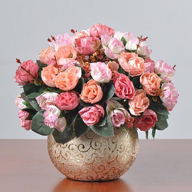 1 Satz Kunstliche Blume Rose Bouquet Goldene Keramik Vase Glas