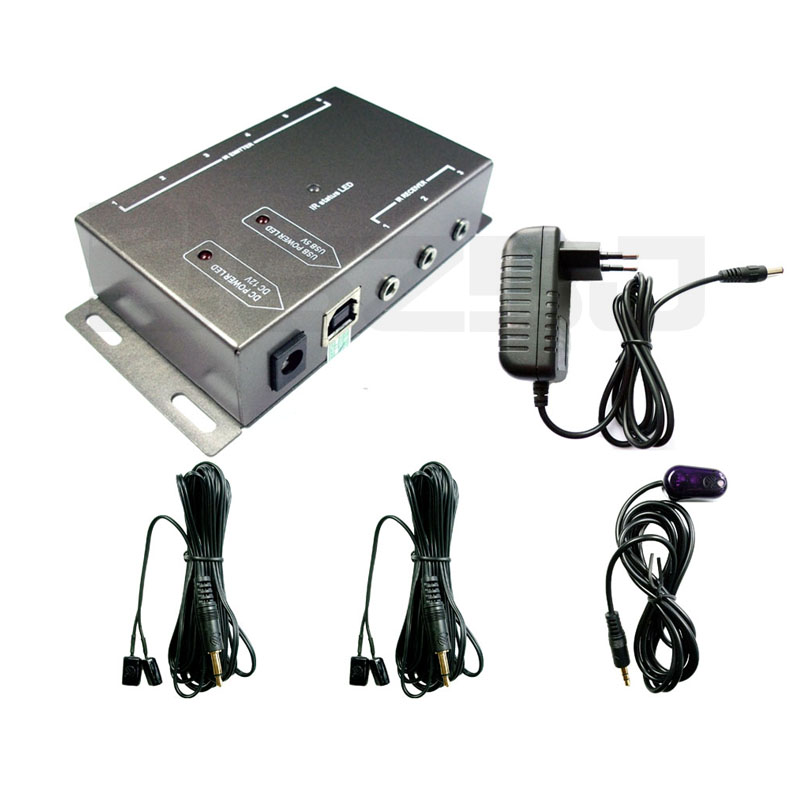 Newest IR Infrared Remote Control Repeater Extender Kit 2 Dual Head Emitters with 1 Receiver Hidden