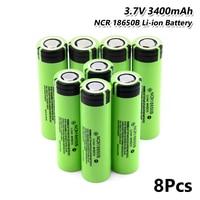 8x Toy Torch Gamepad Cell Rechargeable NCR 18650B 3400mAh 3.7V Li ion Batteryfor Laser Pen LED Flash light Cell battery holder