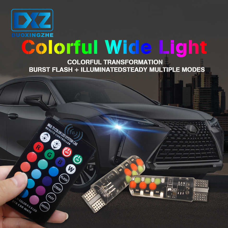 DXZ 2PCS/set 7Color T10 W5W Car Clearance Lights Interior Lighting Strobe Lamp Bulb With Remote Control