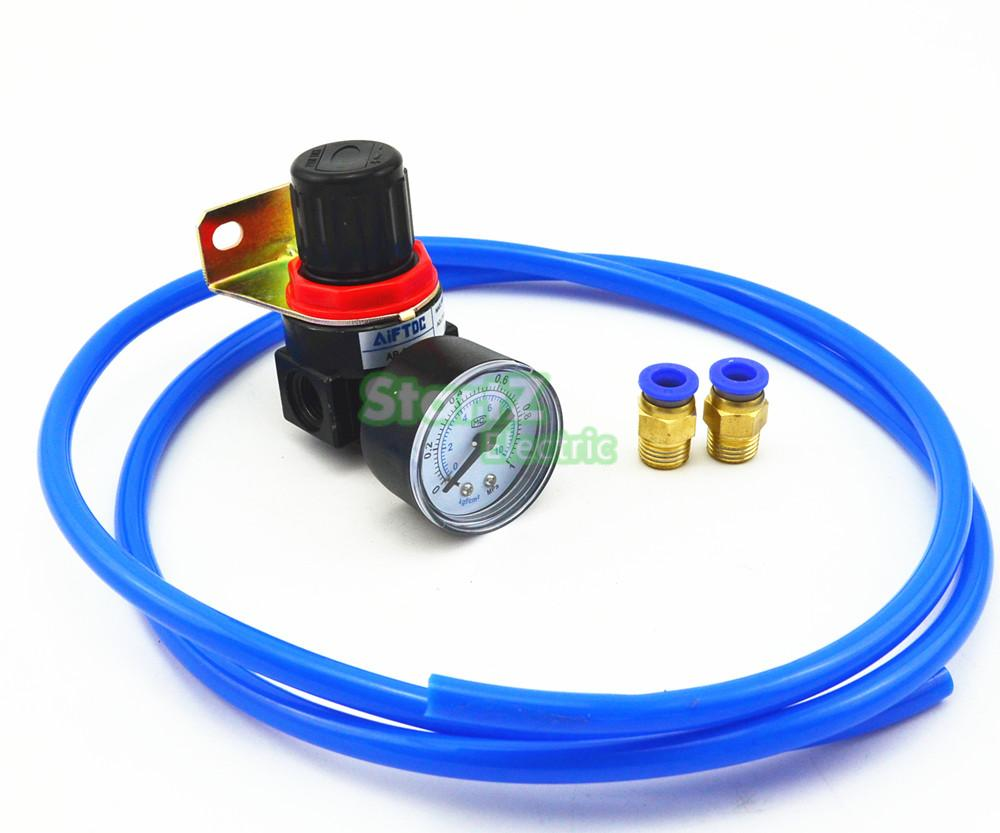 DIY Air Control Compressor Pressure Regulating Regulator Valve with  5M PU tube Fittings 1pc air compressor pressure regulator valve air control pressure gauge relief regulator 75x40x40mm