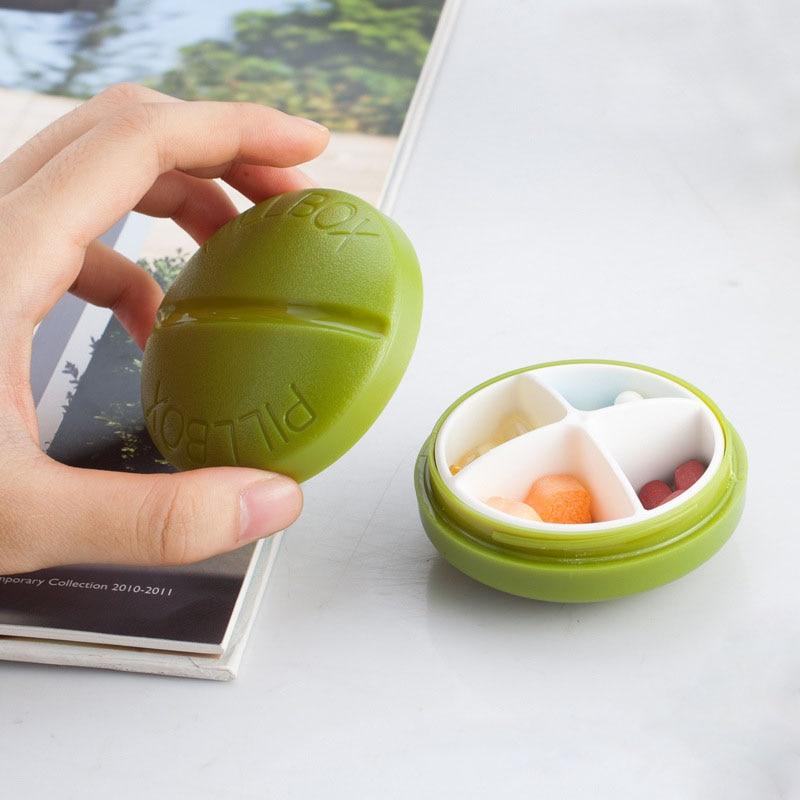 Mini 4 решетки Медицина Дело наркотиками хранения Pill Box округлые Форма Портативный контейнер Пластик
