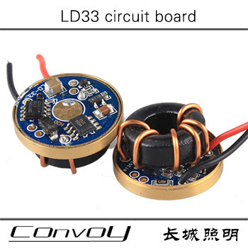 Free shipping  LD33 flashlight circuit board Can connect three xml LEDs in series