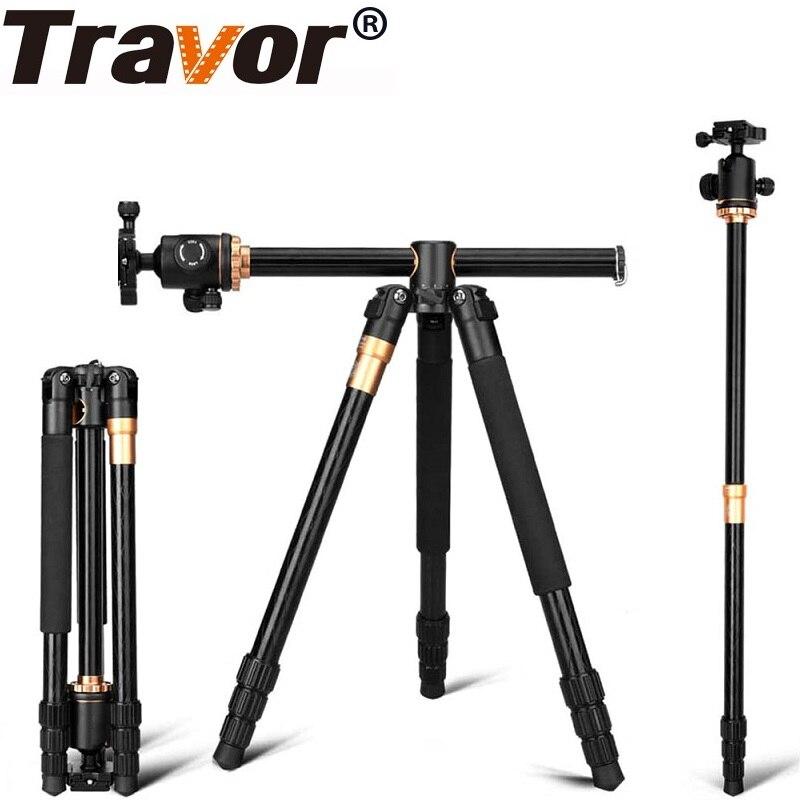 TRAVOR Stand Professionnel Portable Caméra Trépied 61 pouces Portable Voyage Voyage Système Horizontal Trépied pour Canon Nikon Sony DSLR