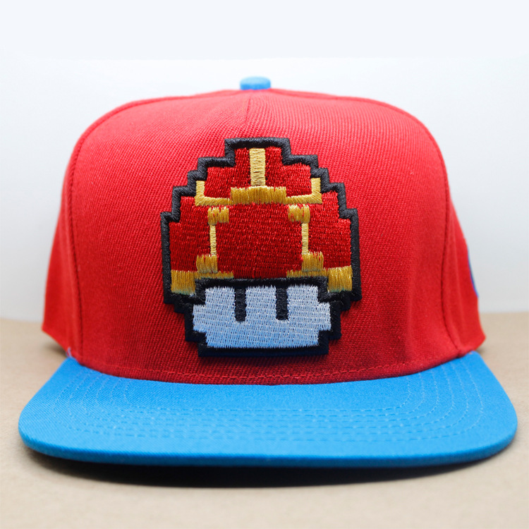 6c7cfdcacd5a3 Super Mario Bros Mushroom Cosplay Hip-hop Embroidered Hat Flat Baseball Cap
