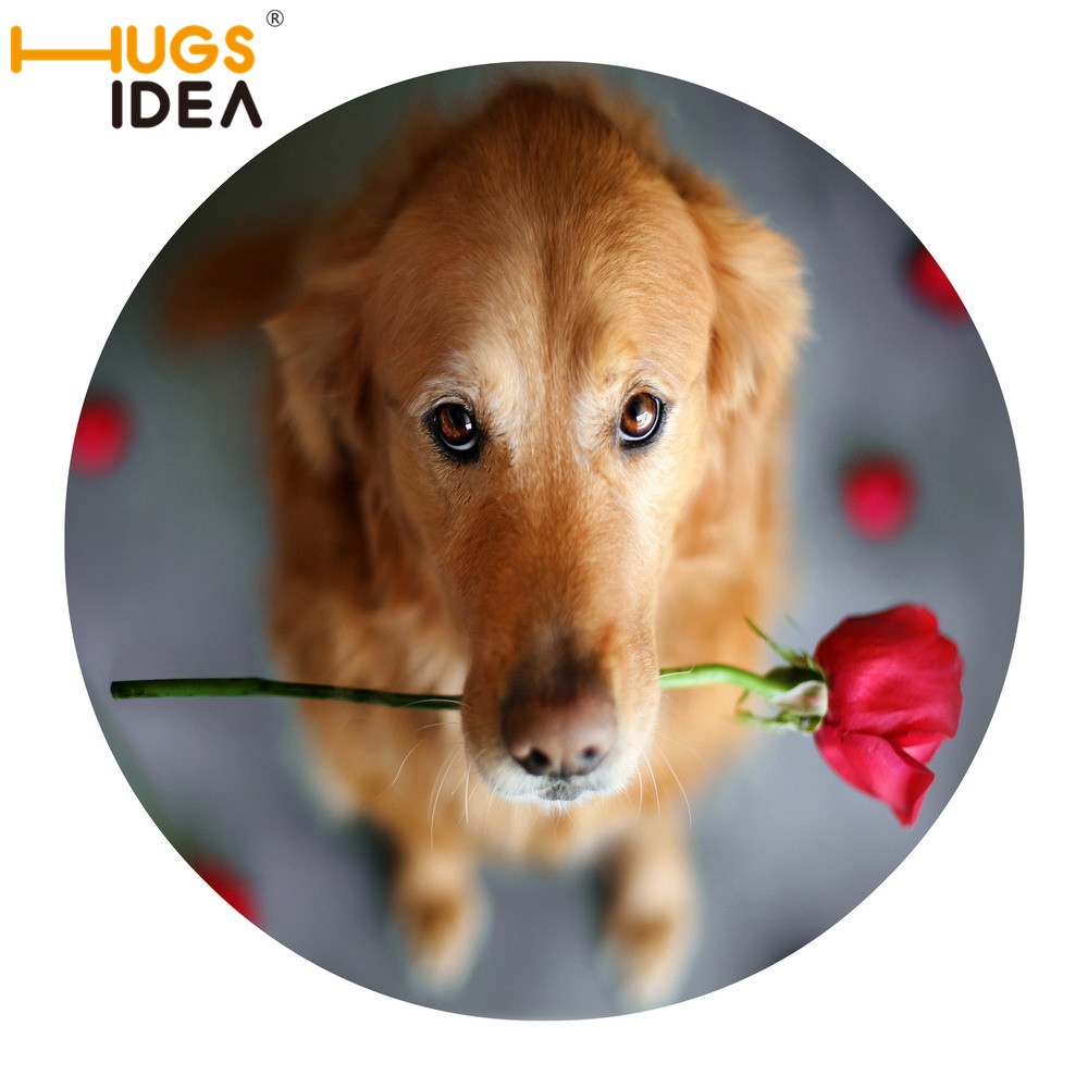 HUGSIDEA 3D Cute Dog Printed Carpet for Kids Bedroom Play Mat Funny Looking up Pets Carpets for Living Room Rose Floral Rugs Mat