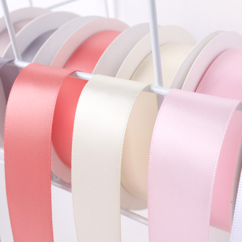 25Yards 2 5cm Width Double Sided Silk Satin Ribbon Trim for Gift Wrap Decoration DIY Crafts Sewing Accessories in Ribbons from Home Garden