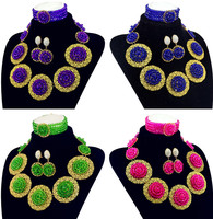 Bride Necklace Gold Color Eleven Disc Beads For Women Nigerian Wedding African Beads Jewelry Set Free