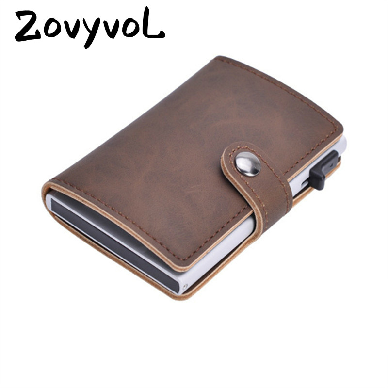 ZOVYVOL 2019 Anti Thief Men Credit Card Holder Blocking Rfid Minimalist Wallet Bag Leather Business id Cardholder Metal Purse