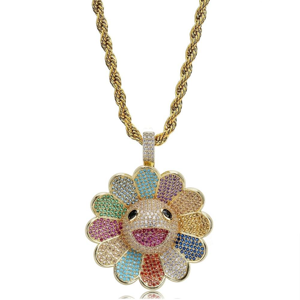 Hip Hop rotatif tournesol pendentif collier pour homme femmes mode Pave AAA cubique zircone Bling glace Out rappeur bijoux