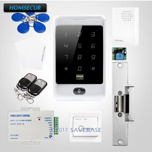 HOMSECUR Waterproof Door Lock Anti Vandal Touch Keypad ID Access Control System N0 Strike Lock