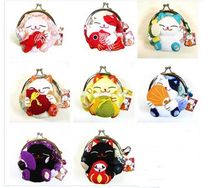 2018 100pcs fast shipping Girls Cute Coin Purse Lucky cat Mini Wallet Bag Hasp Open Japanese Styel Japan Wind 8 style Optional
