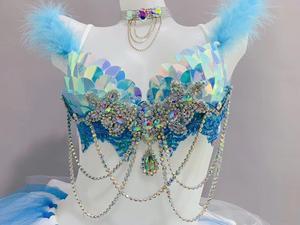 Синий блестящий бюстгальтер со стразами, сетчатая юбка-пачка, сексуальный женский комплект, клубный бальный наряд для вечеринки, для ночного клуба, для DJ, для певицы, костюм из 2 предметов