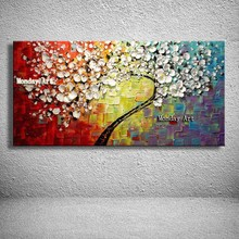 Handpainted flower Canvas painting Wall Art Abstract Acrylic Flowers picture handpainted Palette Knife Painting for Home Decora
