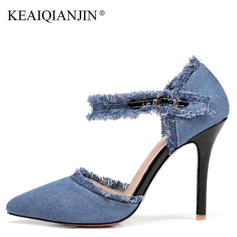 KEAIQIANJIN Woman Denim Heels Sandals Fashion Sexy Denim Ultra High Heels Shoes Plus Size 31 - 47 Blue Casual Hollow Sandals