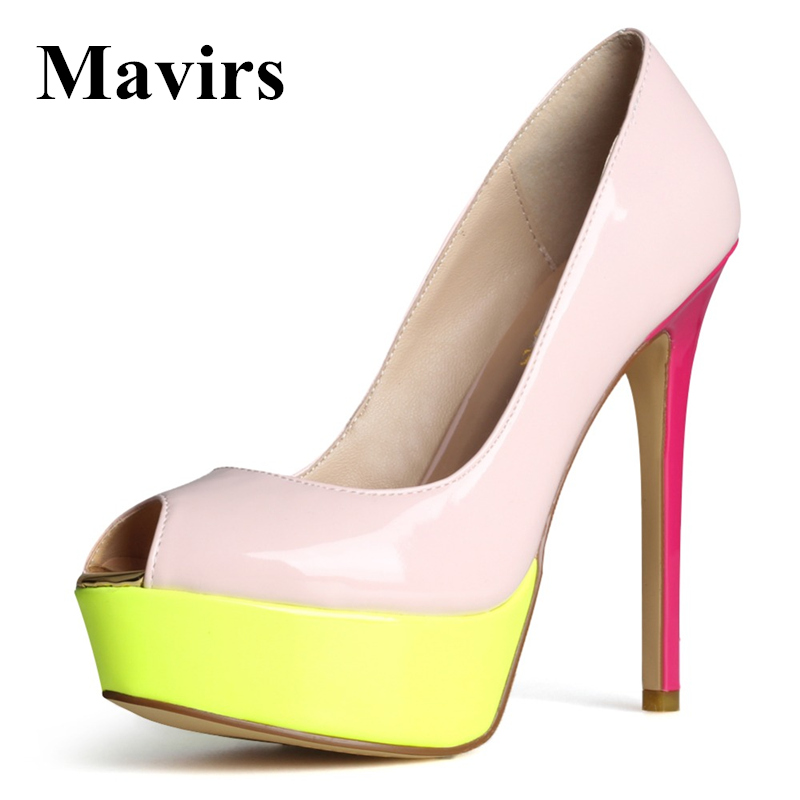 Mavirs Classics Large Size Platform Peep Toe Patent Leather Glitter Leopard Women High Heels Pumps Black Red Shoes Wedding Party apoepo brand 2017 zapatos mujer black and red shoes women peep toe pumps sexy high heels shoes women s platform pumps size 43
