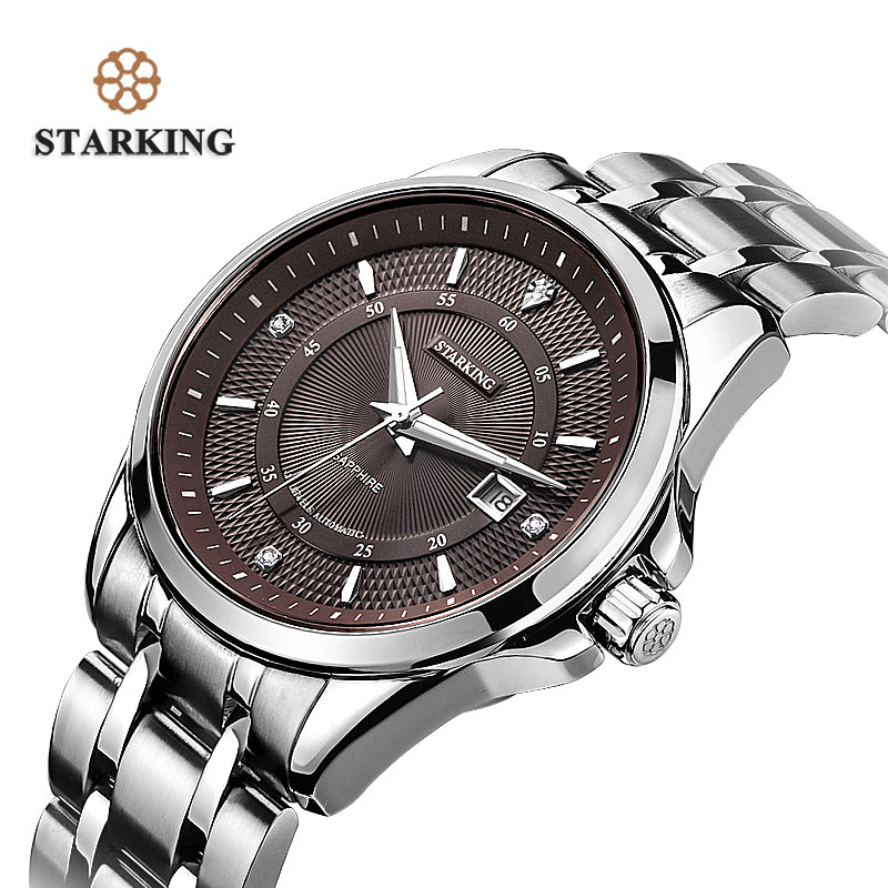 STARKING Top Brand Luxury Men's Watch Rerto Design Automatic Self-wind Stainless Steel Wrist Watch 50m Waterproof Male Clock top sale stainless steel mug automatic stirring mug automatic stirring 350ml with lid handle button design keep warm green