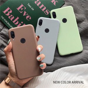 solid candy color silicone case on for xiaomi redmi note 7 note7 pro / redmi 7 yellow thin tpu phone back cover coque funda