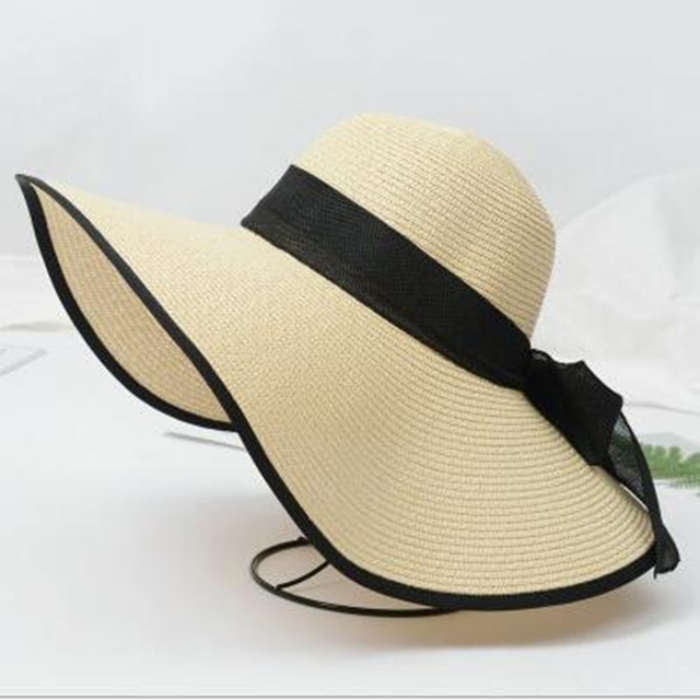 584a74a8 Fashion Women Foldable Floppy Bow Straw Sun Hat Wide Brim Cap Sun Visor  Protection Summer Hats
