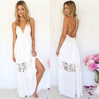 28692317ab Sexy Women White Lace Party Summer Beach Backless Maxi Long Hobo Dress