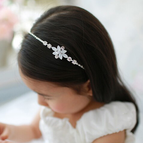 White Flower Beaded Embellished Headband For Girls Fashion Kids Party Clear Crystal  Hair Band Hair Accessories 1d5bd3278e53